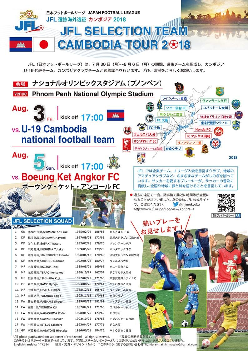 (日本語) 【8/3,5開催】カンボジアに日本からJFL選抜がやってくる!