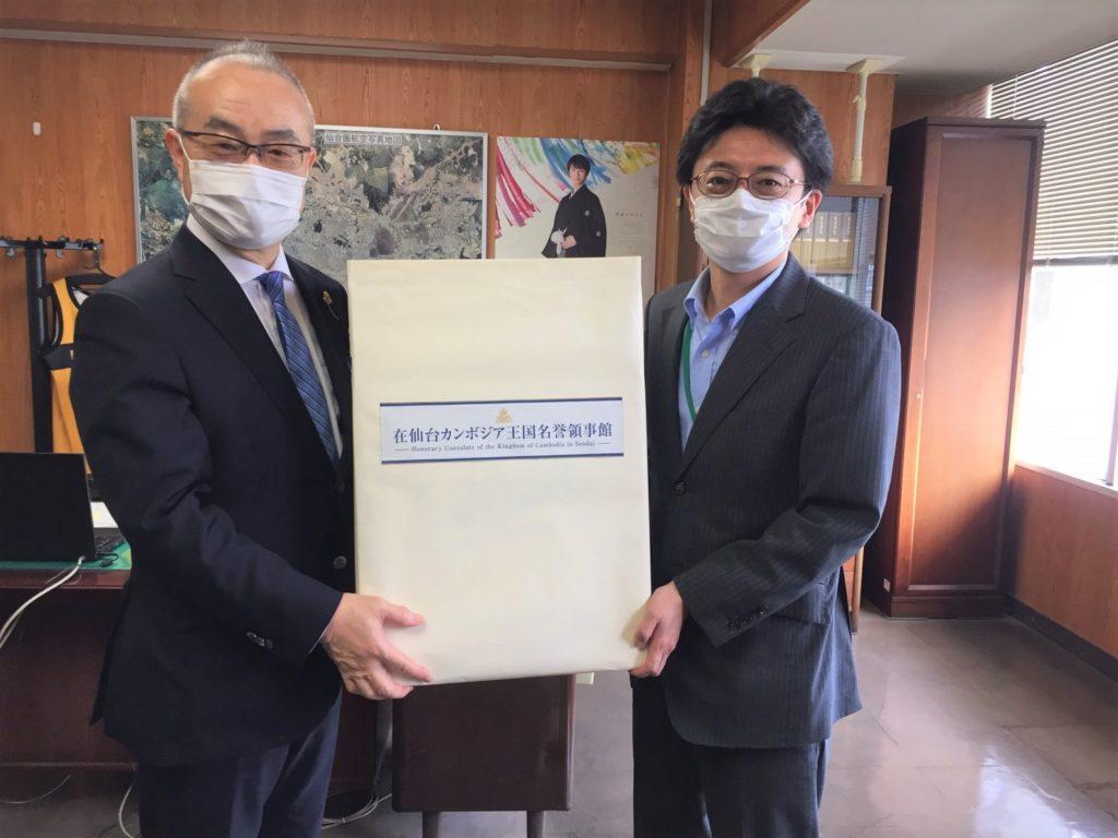 (日本語) 7/3 カンボジアより手作りマスクが仙台市へ